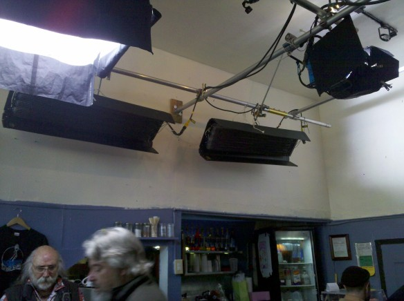 Lighting rig installed in the cafe