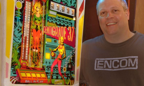 ed beeler with pinball game