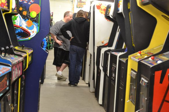 wade and ed  in an arcade row