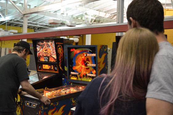 couple watch pinball tournament