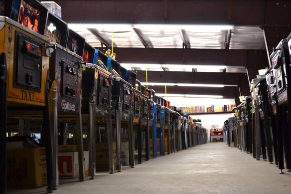 row of pinball games