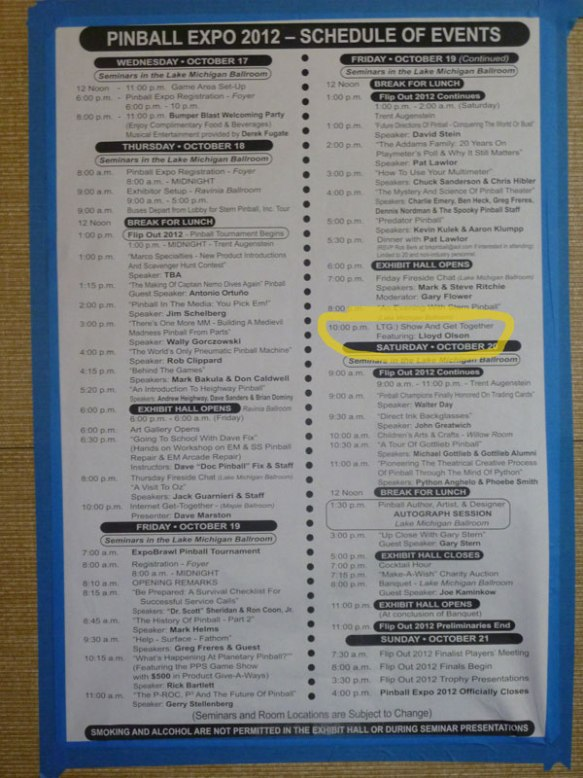pinball expo 2012 program